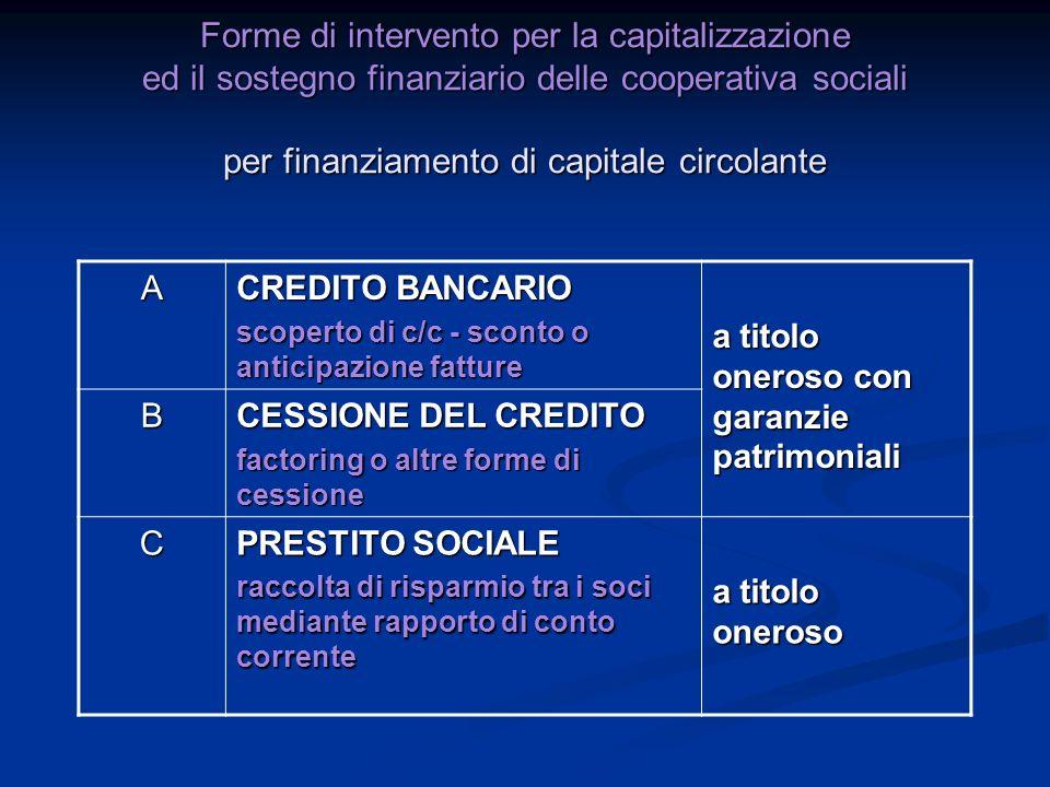 Forme di intervento per la capitalizzazione ed il sostegno finanziario delle cooperativa sociali per finanziamento di capitale circolante