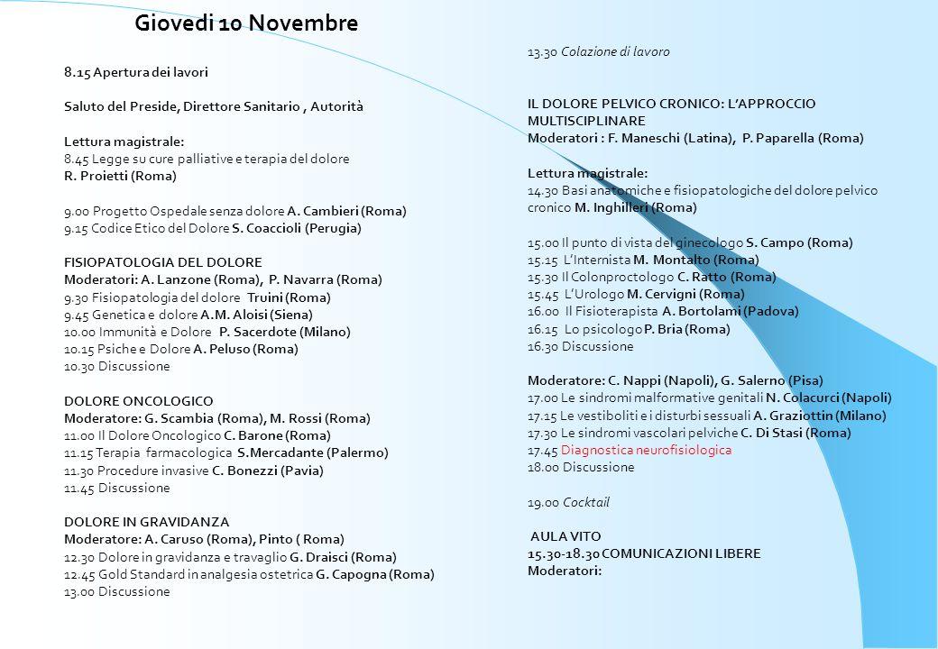 Giovedi 10 Novembre 13.30 Colazione di lavoro