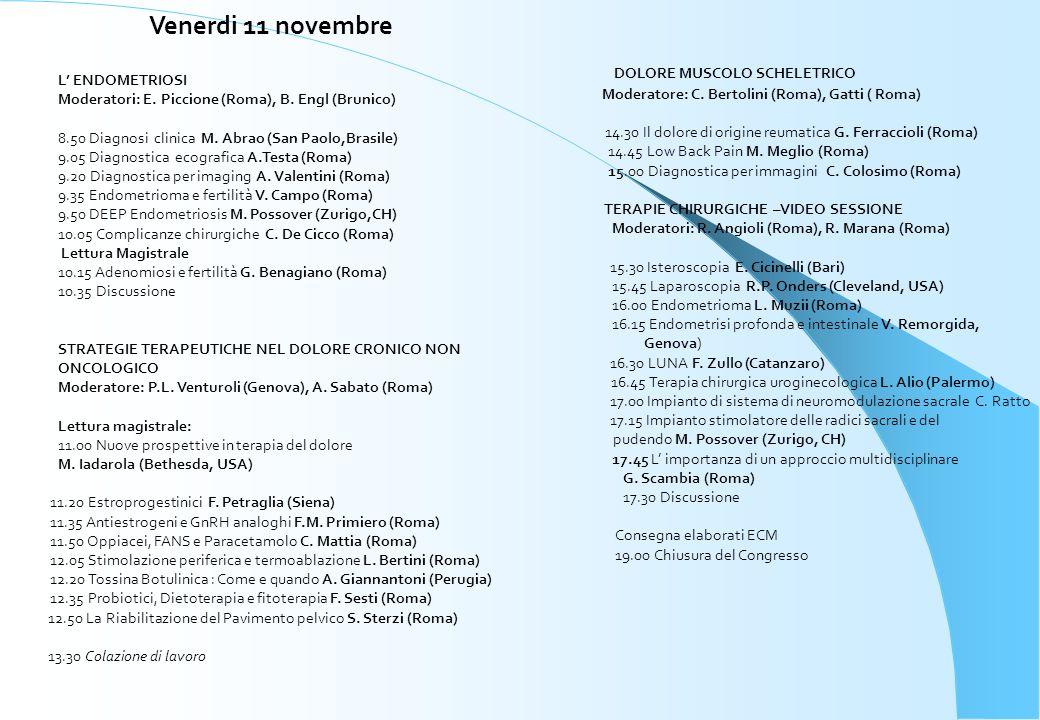Venerdi 11 novembre DOLORE MUSCOLO SCHELETRICO