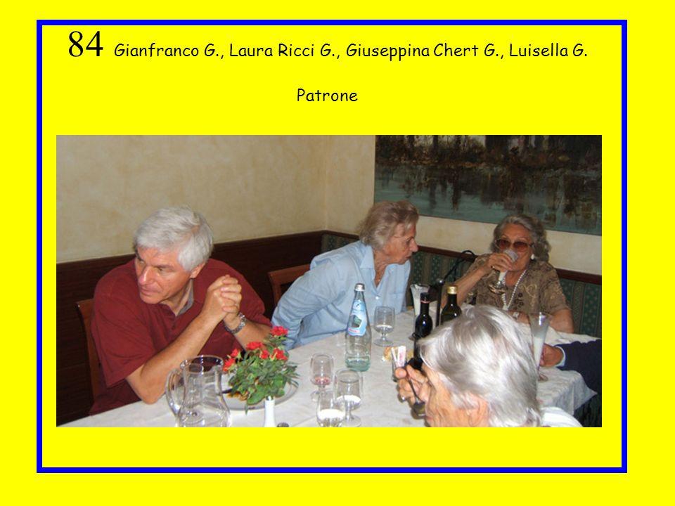 84 Gianfranco G. , Laura Ricci G. , Giuseppina Chert G. , Luisella G