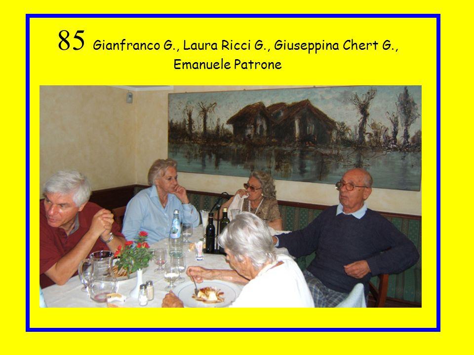 85 Gianfranco G. , Laura Ricci G. , Giuseppina Chert G