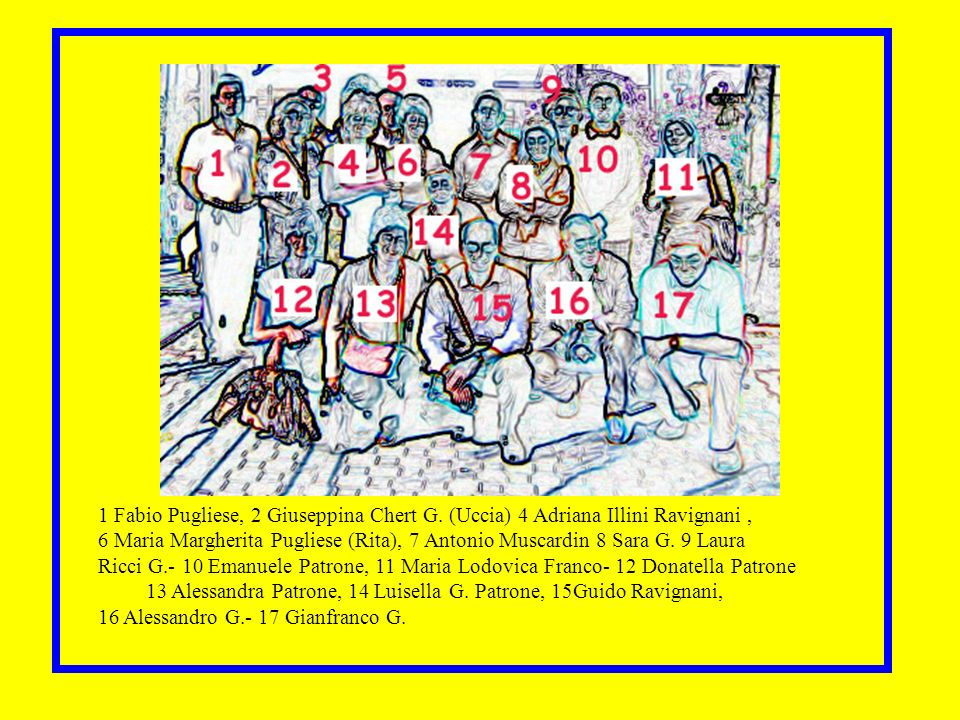 Nomi 1 Fabio Pugliese, 2 Giuseppina Chert G. (Uccia) 4 Adriana Illini Ravignani ,