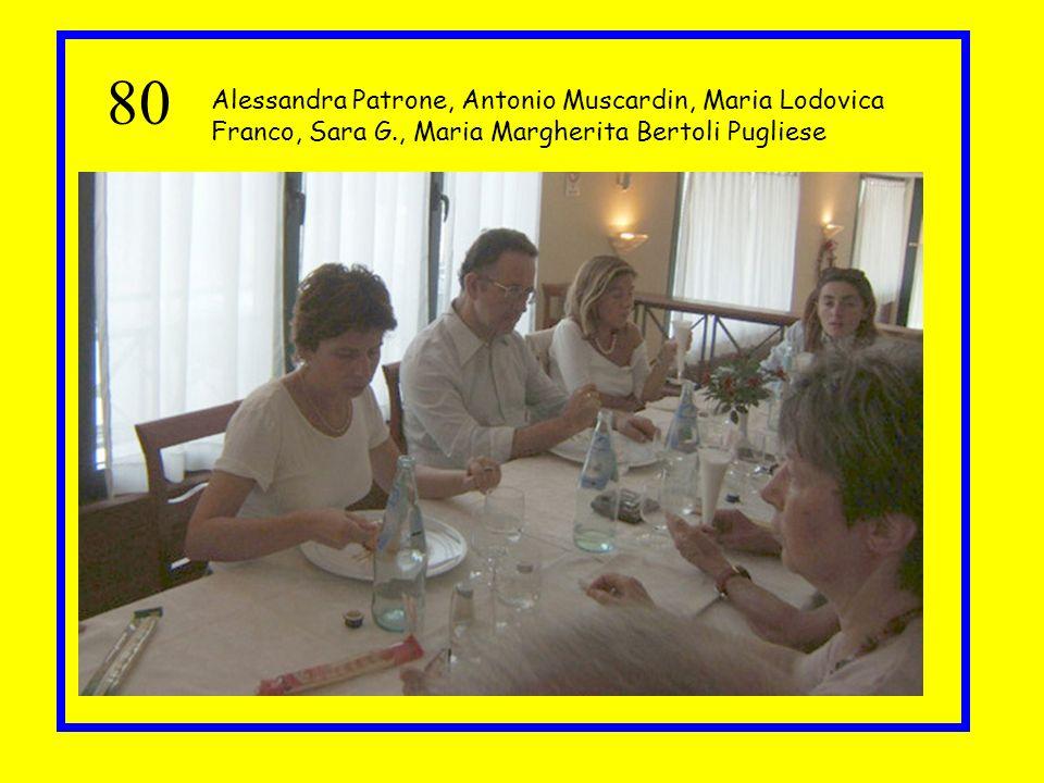 80 Alessandra Patrone, Antonio Muscardin, Maria Lodovica Franco, Sara G., Maria Margherita Bertoli Pugliese.