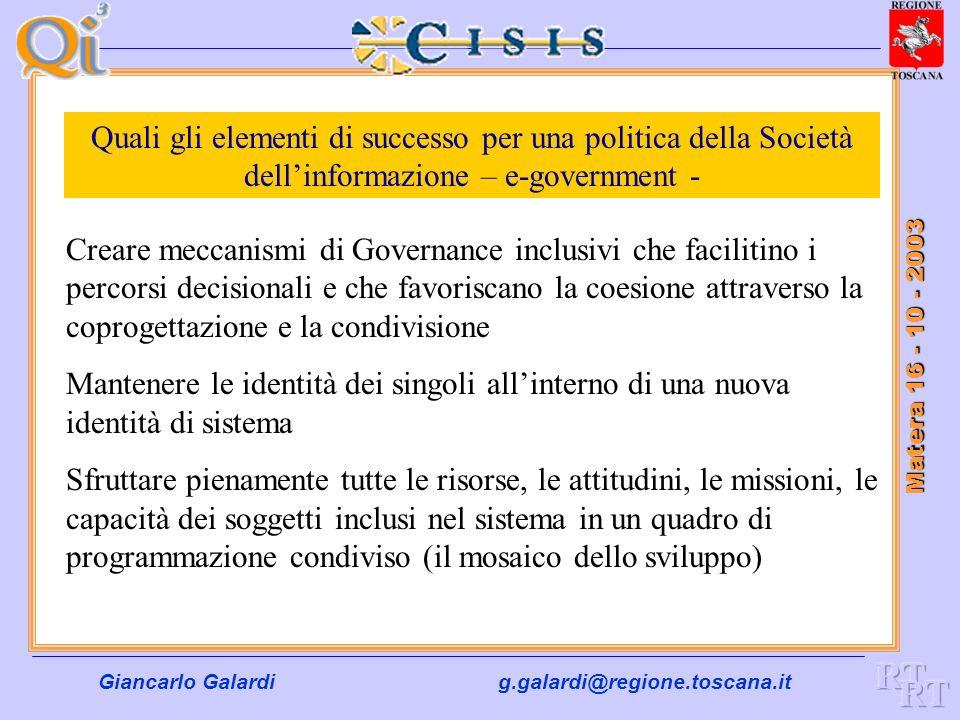 Quali gli elementi di successo per una politica della Società dell'informazione – e-government -