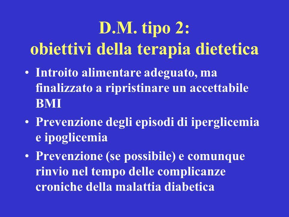 D.M. tipo 2: obiettivi della terapia dietetica