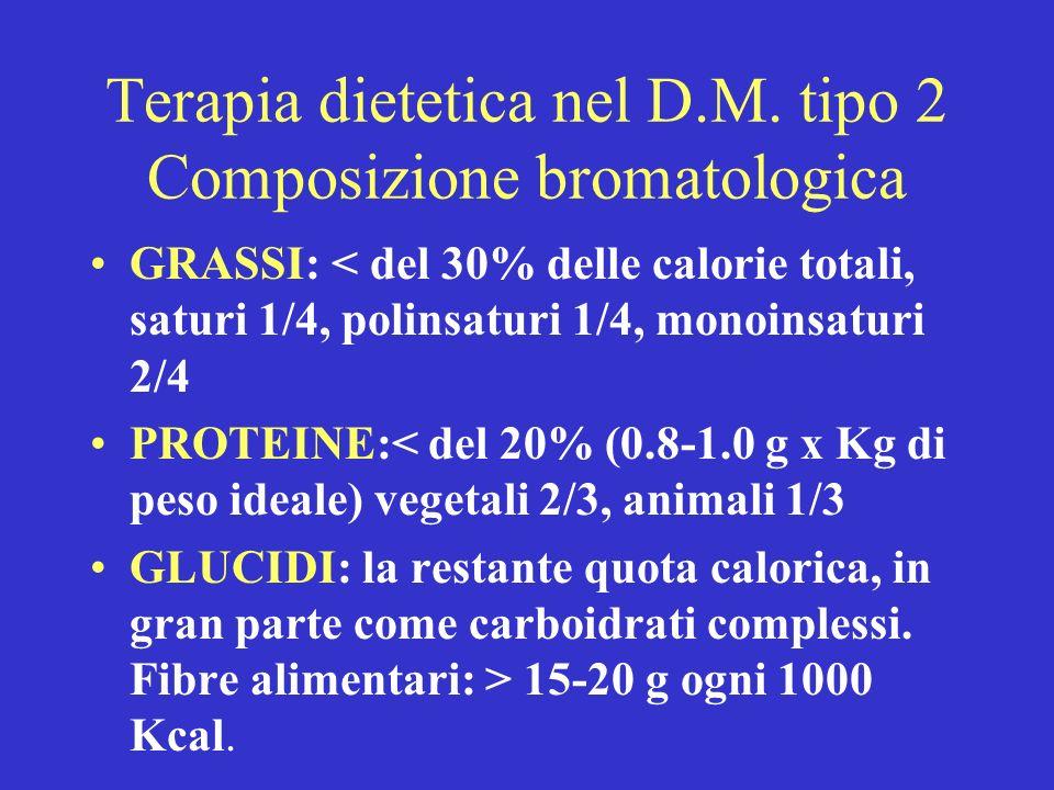 Terapia dietetica nel D.M. tipo 2 Composizione bromatologica