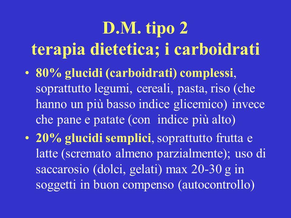 D.M. tipo 2 terapia dietetica; i carboidrati