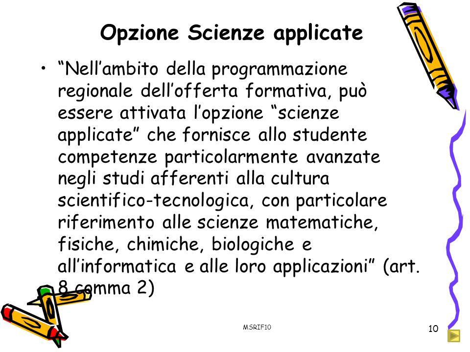 Opzione Scienze applicate
