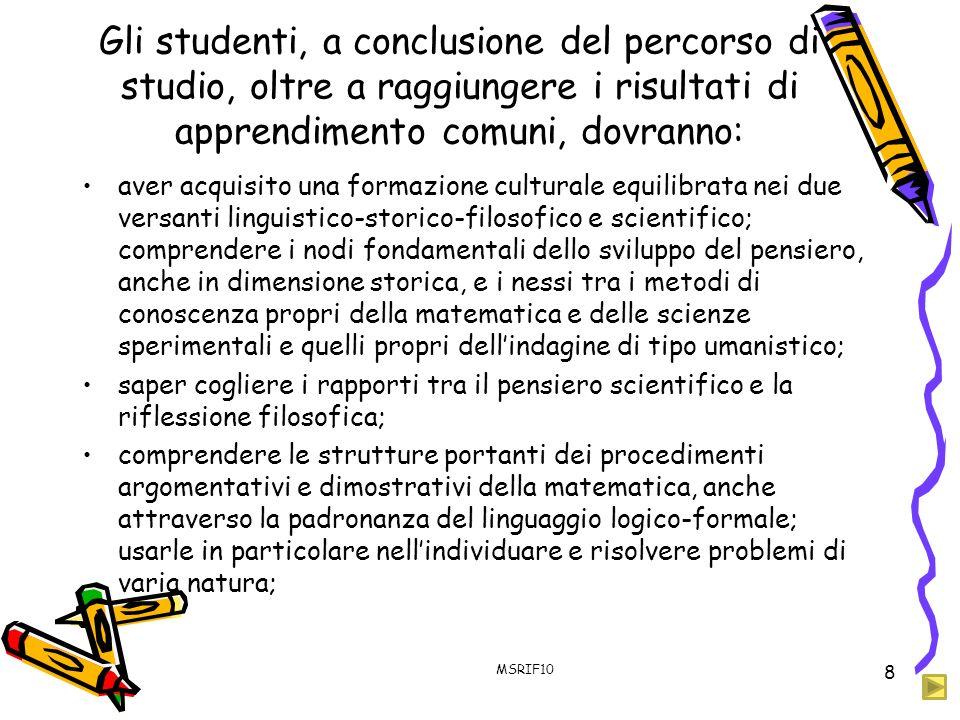 Gli studenti, a conclusione del percorso di studio, oltre a raggiungere i risultati di apprendimento comuni, dovranno:
