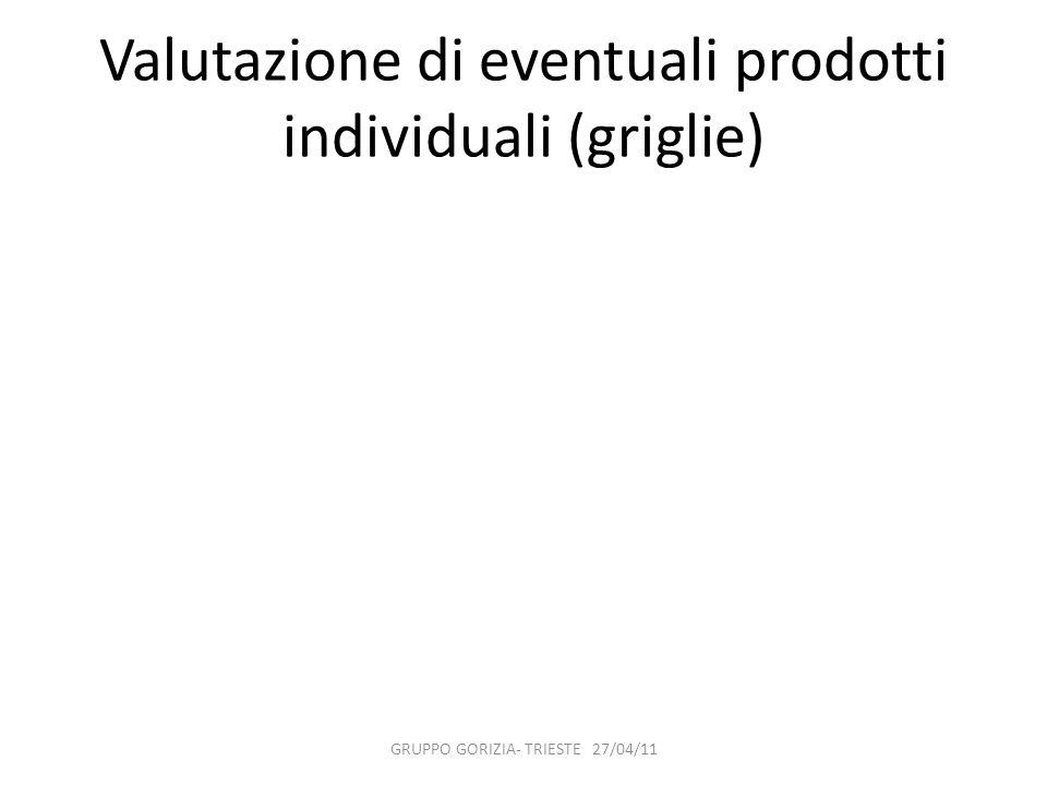 Valutazione di eventuali prodotti individuali (griglie)