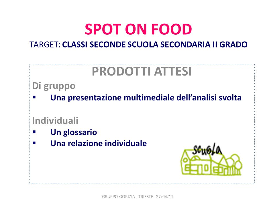 SPOT ON FOOD TARGET: CLASSI SECONDE SCUOLA SECONDARIA II GRADO