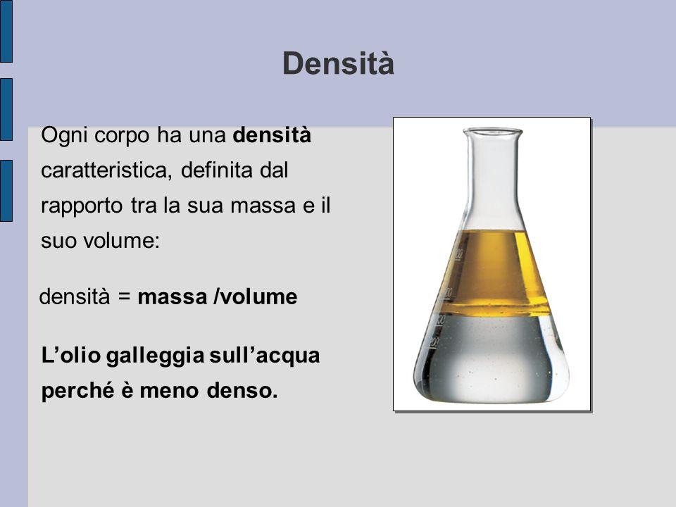 Densità Ogni corpo ha una densità caratteristica, definita dal rapporto tra la sua massa e il suo volume: