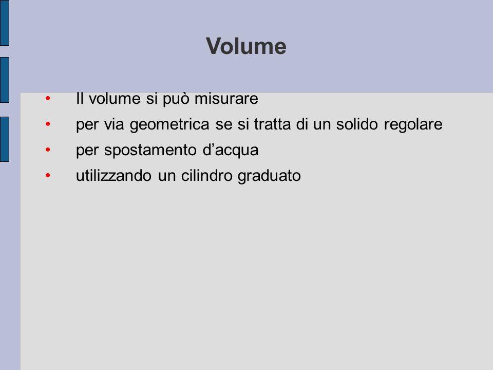 Volume Il volume si può misurare