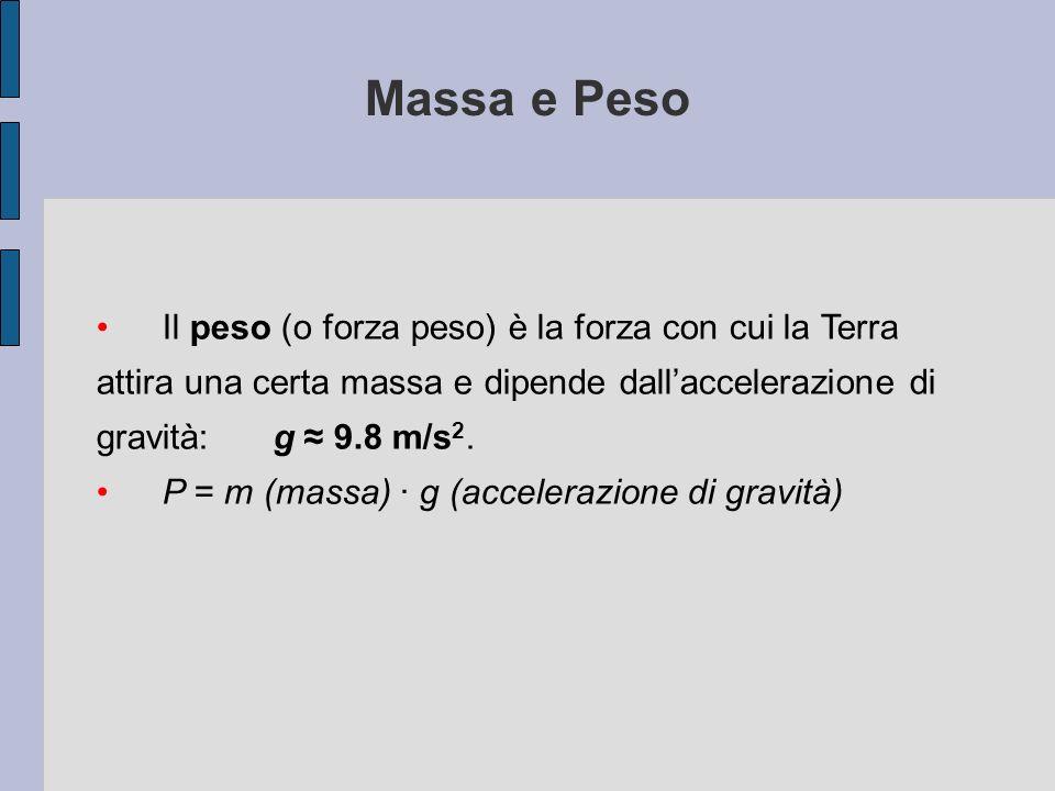 Massa e Peso Il peso (o forza peso) è la forza con cui la Terra attira una certa massa e dipende dall'accelerazione di gravità: g ≈ 9.8 m/s2.