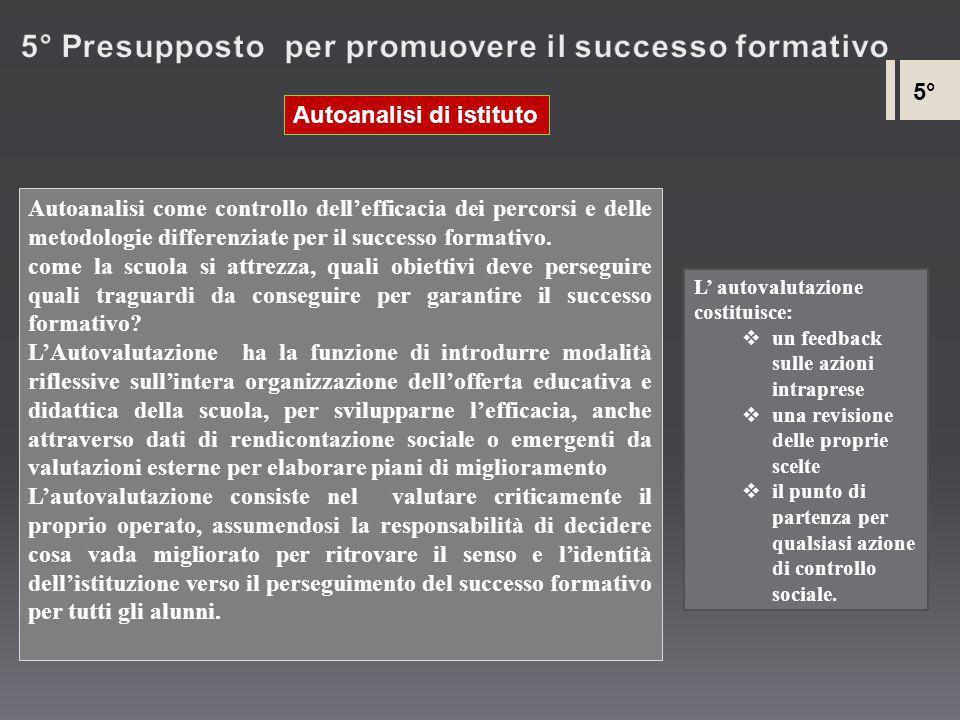 5° Presupposto per promuovere il successo formativo