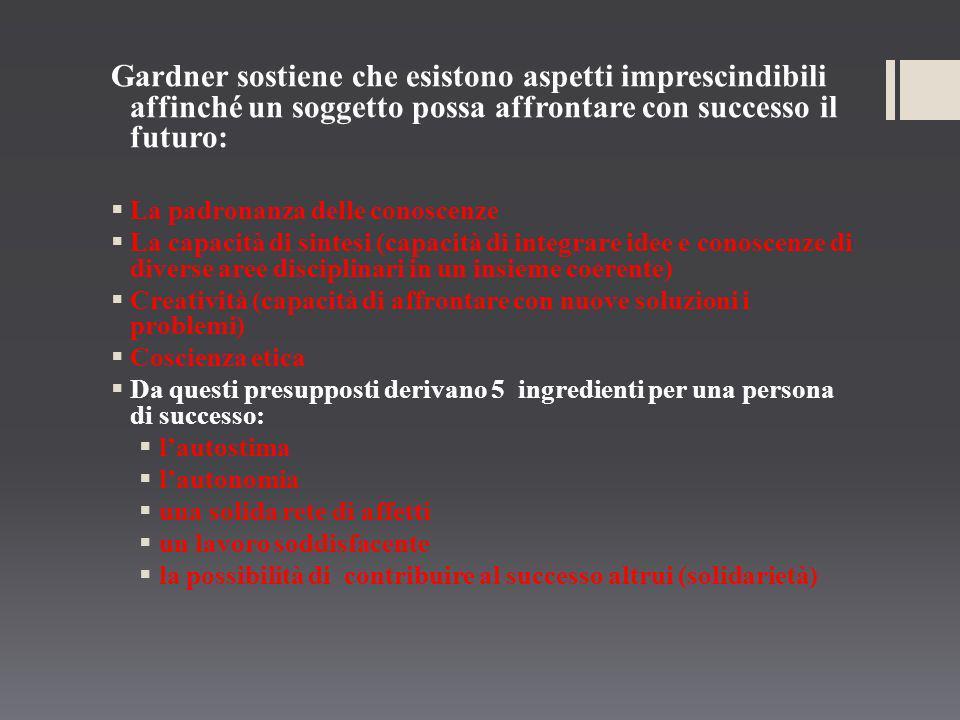 Gardner sostiene che esistono aspetti imprescindibili affinché un soggetto possa affrontare con successo il futuro: