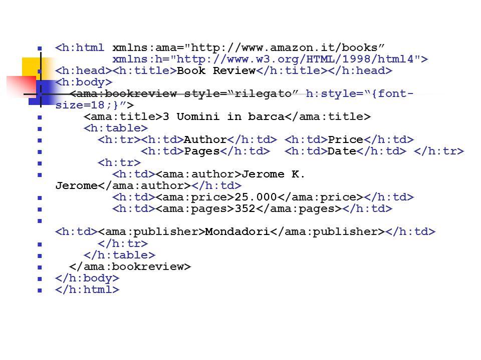 <h:html xmlns:ama= http://www.amazon.it/books xmlns:h= http://www.w3.org/HTML/1998/html4 >
