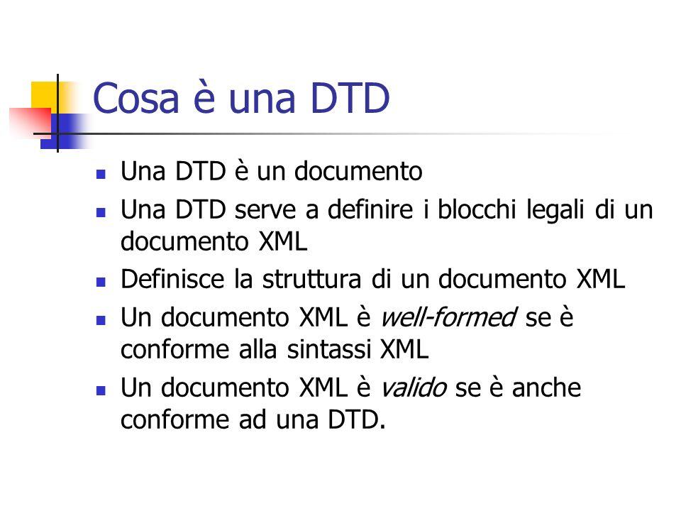 Cosa è una DTD Una DTD è un documento
