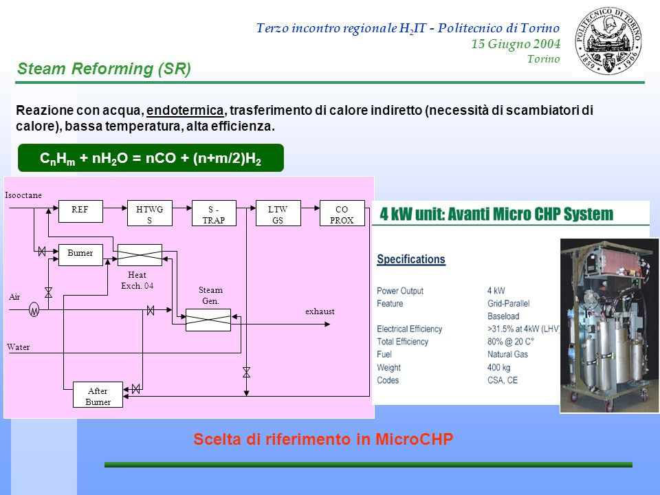 CnHm + nH2O = nCO + (n+m/2)H2 Scelta di riferimento in MicroCHP
