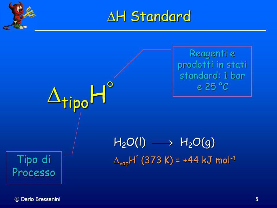 Reagenti e prodotti in stati standard: 1 bar e 25 °C