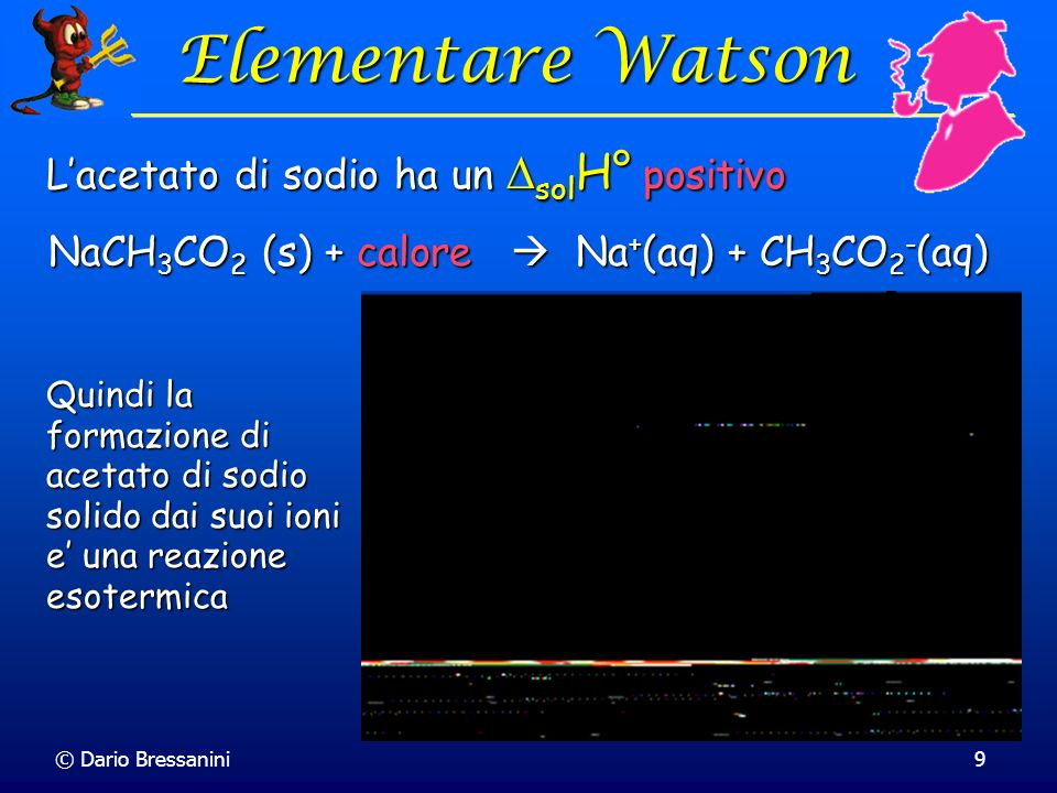 NaCH3CO2 (s) + calore  Na+(aq) + CH3CO2-(aq)