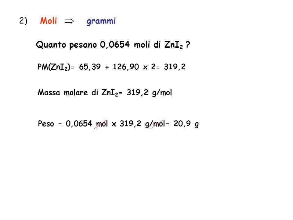 Quanto pesano 0,0654 moli di ZnI2