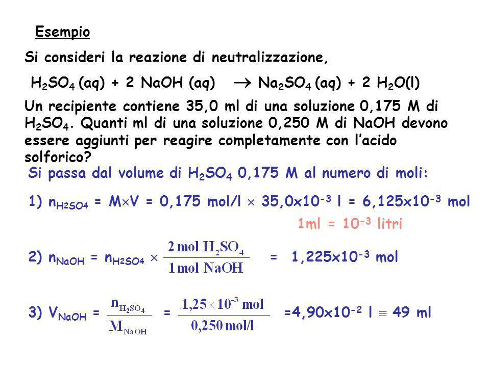 Esempio Si consideri la reazione di neutralizzazione, H2SO4 (aq) + 2 NaOH (aq)  Na2SO4 (aq) + 2 H2O(l)