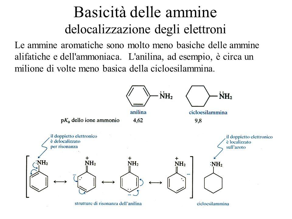 Basicità delle ammine delocalizzazione degli elettroni
