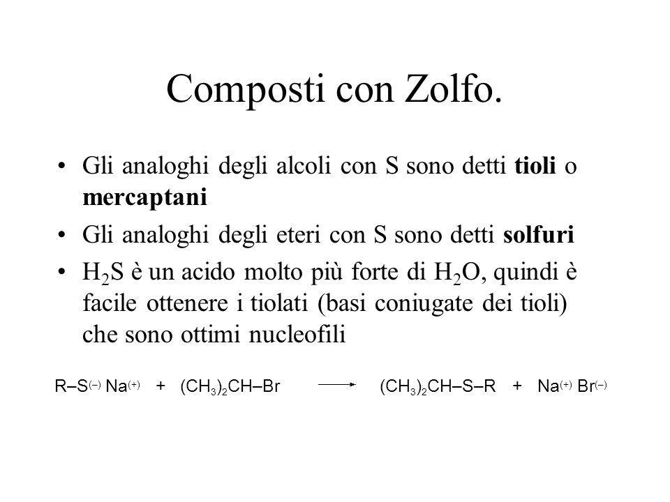Composti con Zolfo. Gli analoghi degli alcoli con S sono detti tioli o mercaptani. Gli analoghi degli eteri con S sono detti solfuri.