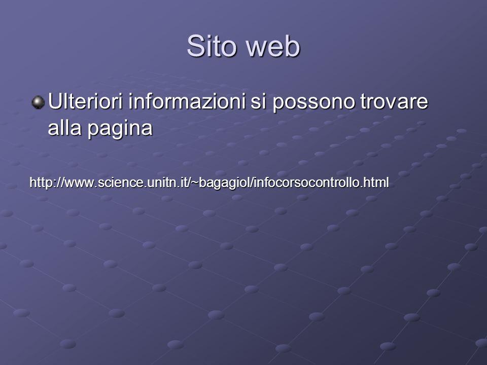 Sito web Ulteriori informazioni si possono trovare alla pagina