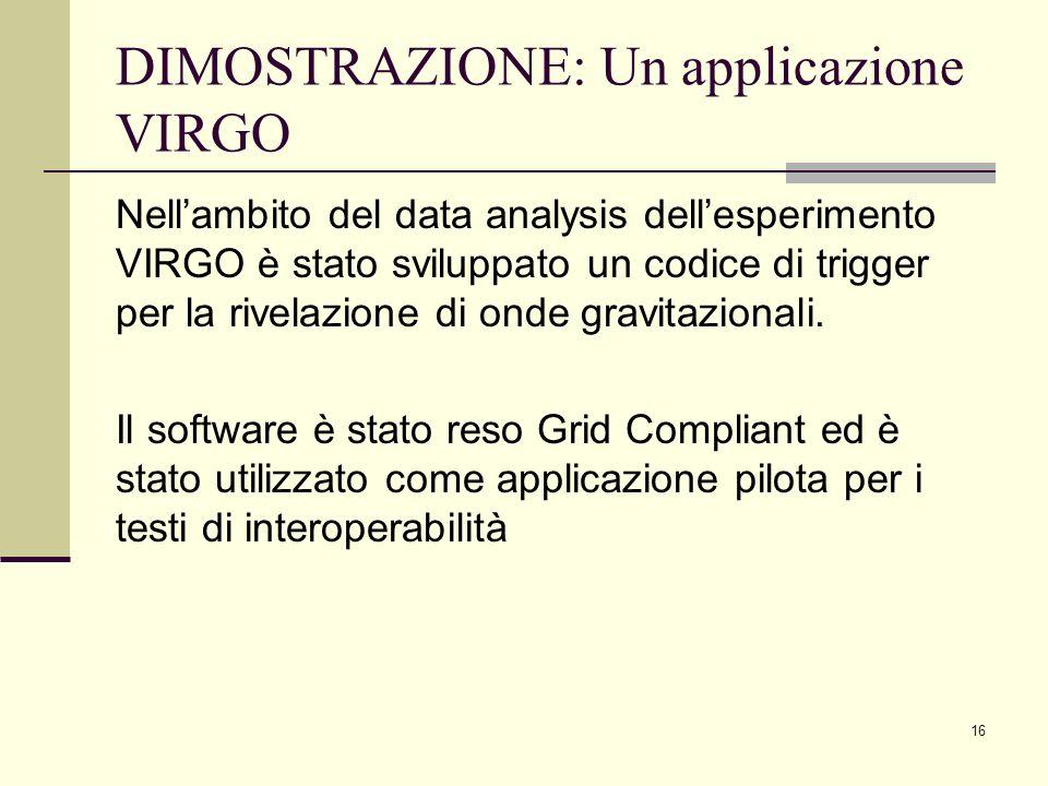 DIMOSTRAZIONE: Un applicazione VIRGO