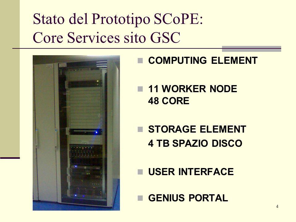 Stato del Prototipo SCoPE: Core Services sito GSC
