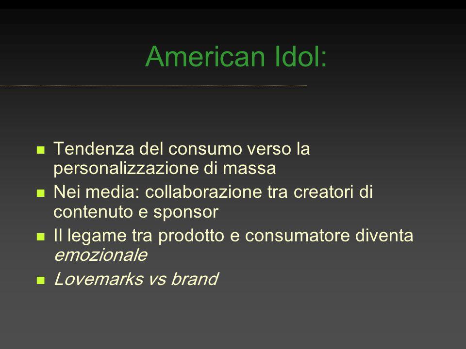 American Idol: Tendenza del consumo verso la personalizzazione di massa. Nei media: collaborazione tra creatori di contenuto e sponsor.