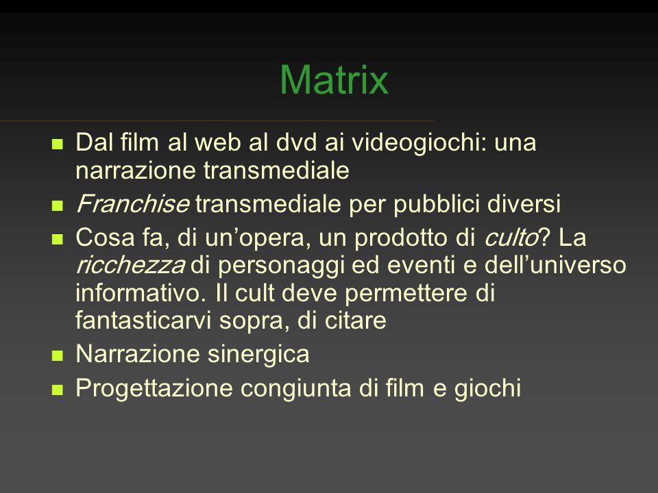 Matrix Dal film al web al dvd ai videogiochi: una narrazione transmediale. Franchise transmediale per pubblici diversi.