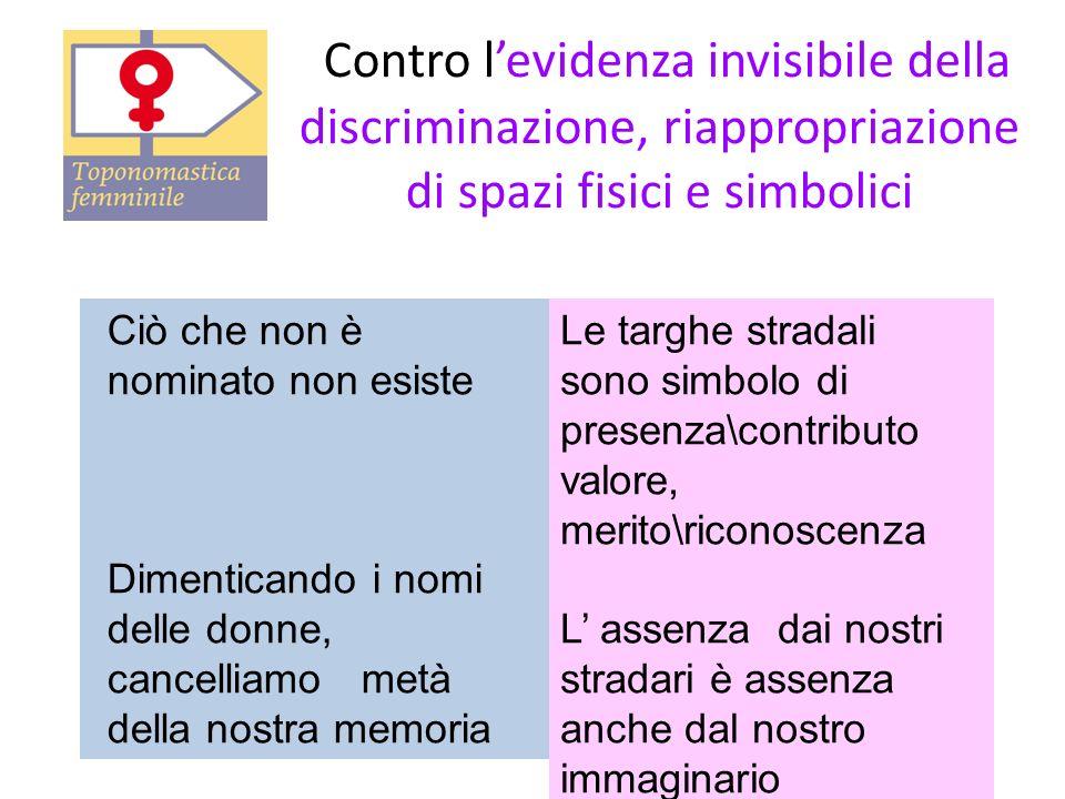 Contro l'evidenza invisibile della discriminazione, riappropriazione di spazi fisici e simbolici