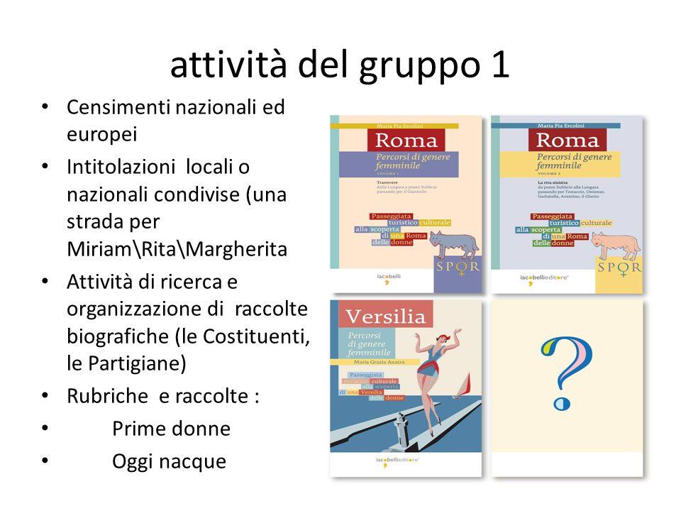 attività del gruppo 1 Censimenti nazionali ed europei
