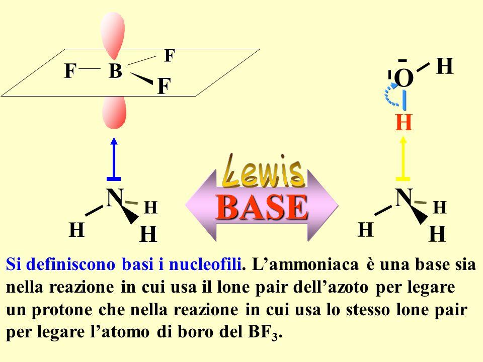 N H. B. F. N. H. O. Lewis. BASE. Si definiscono basi i nucleofili. L'ammoniaca è una base sia.
