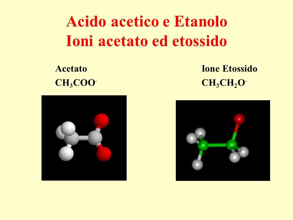 Acido acetico e Etanolo Ioni acetato ed etossido