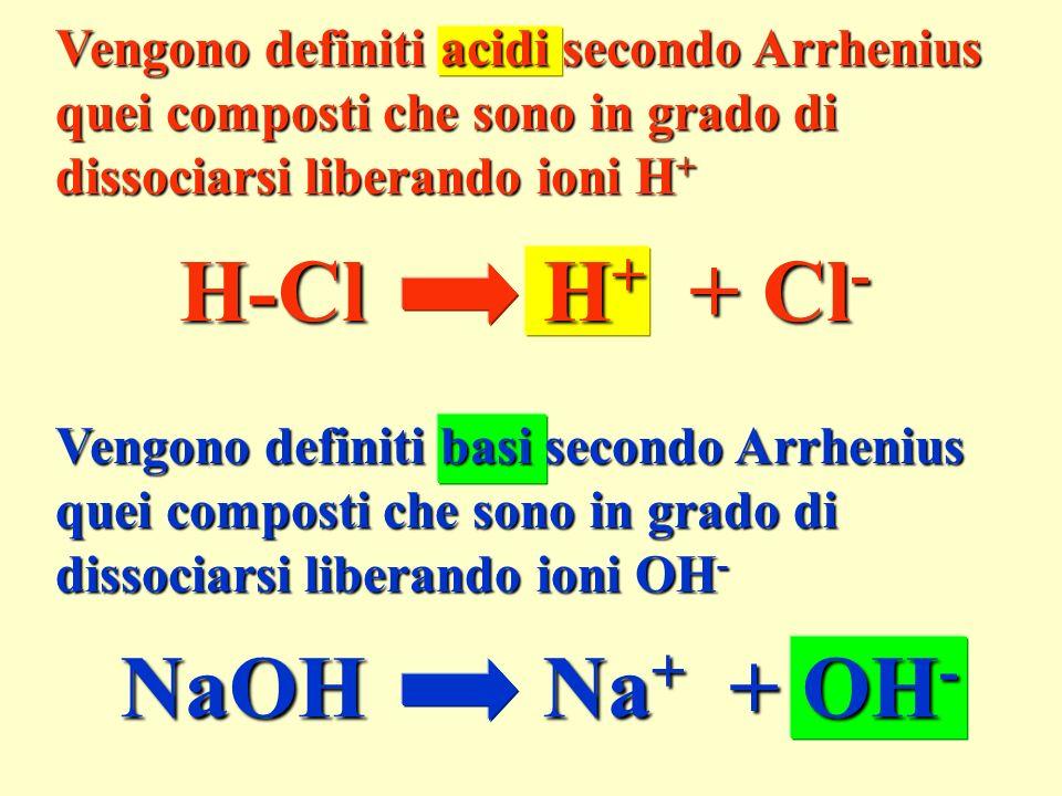 H-Cl H+ + Cl- NaOH Na+ + OH- Vengono definiti acidi secondo Arrhenius