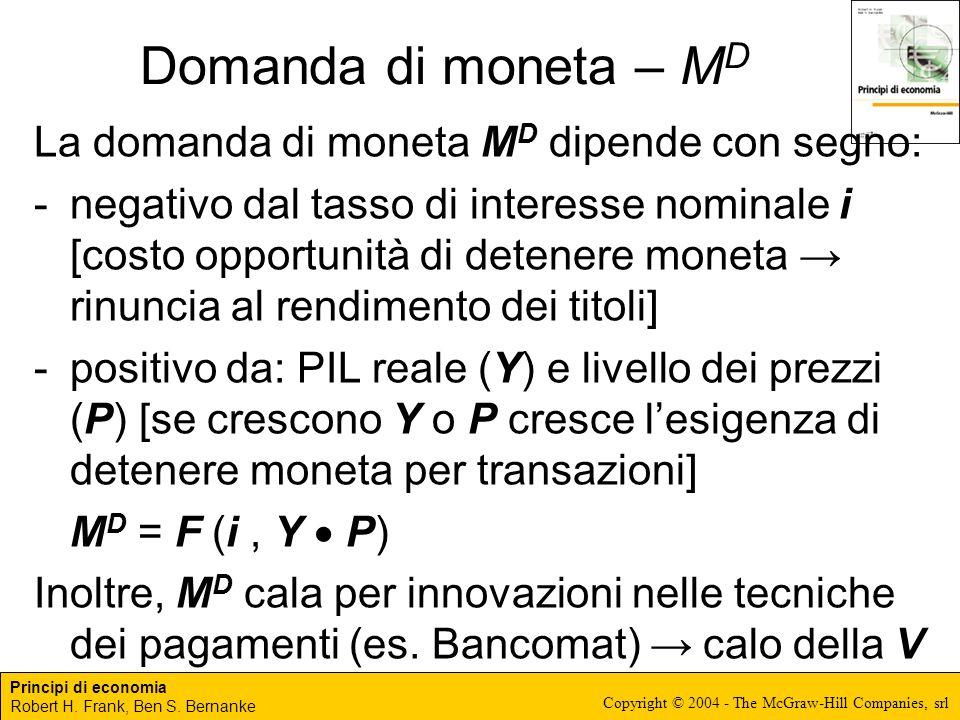 Domanda di moneta – MD La domanda di moneta MD dipende con segno: