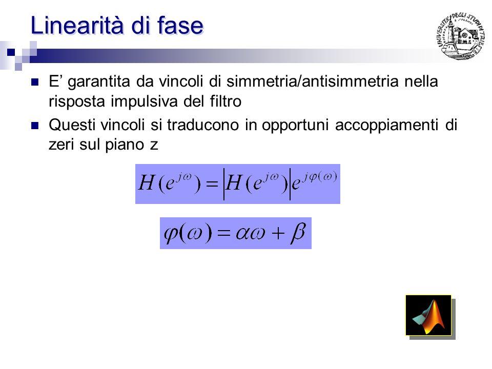 Linearità di fase E' garantita da vincoli di simmetria/antisimmetria nella risposta impulsiva del filtro.