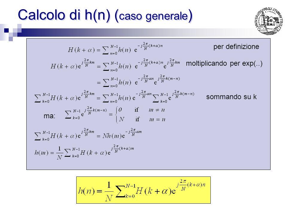 Calcolo di h(n) (caso generale)
