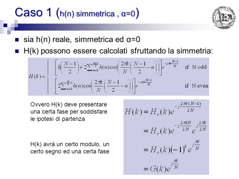 Caso 1 (h(n) simmetrica , α=0)