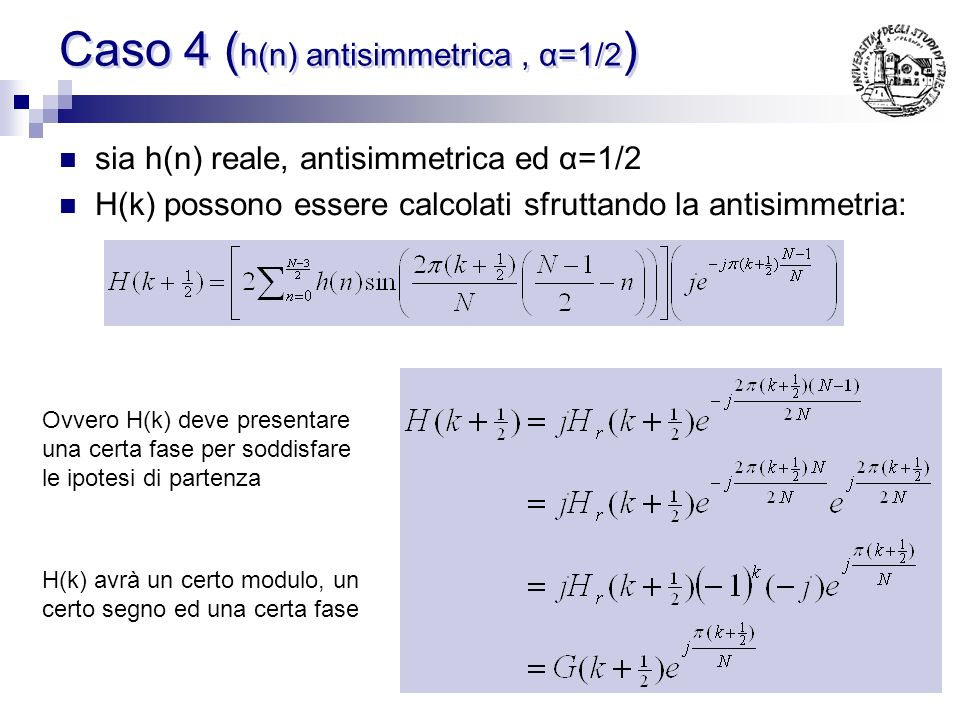Caso 4 (h(n) antisimmetrica , α=1/2)
