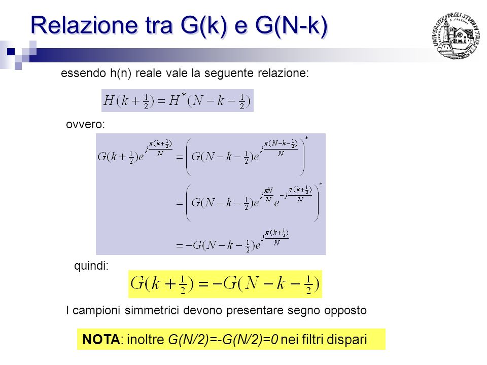 Relazione tra G(k) e G(N-k)