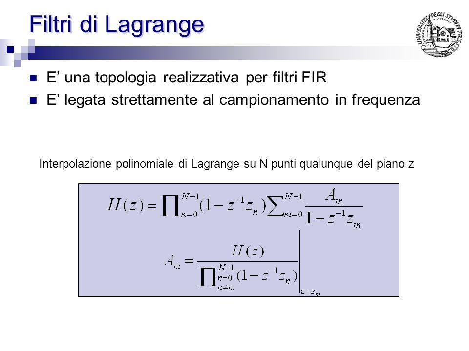 Filtri di Lagrange E' una topologia realizzativa per filtri FIR