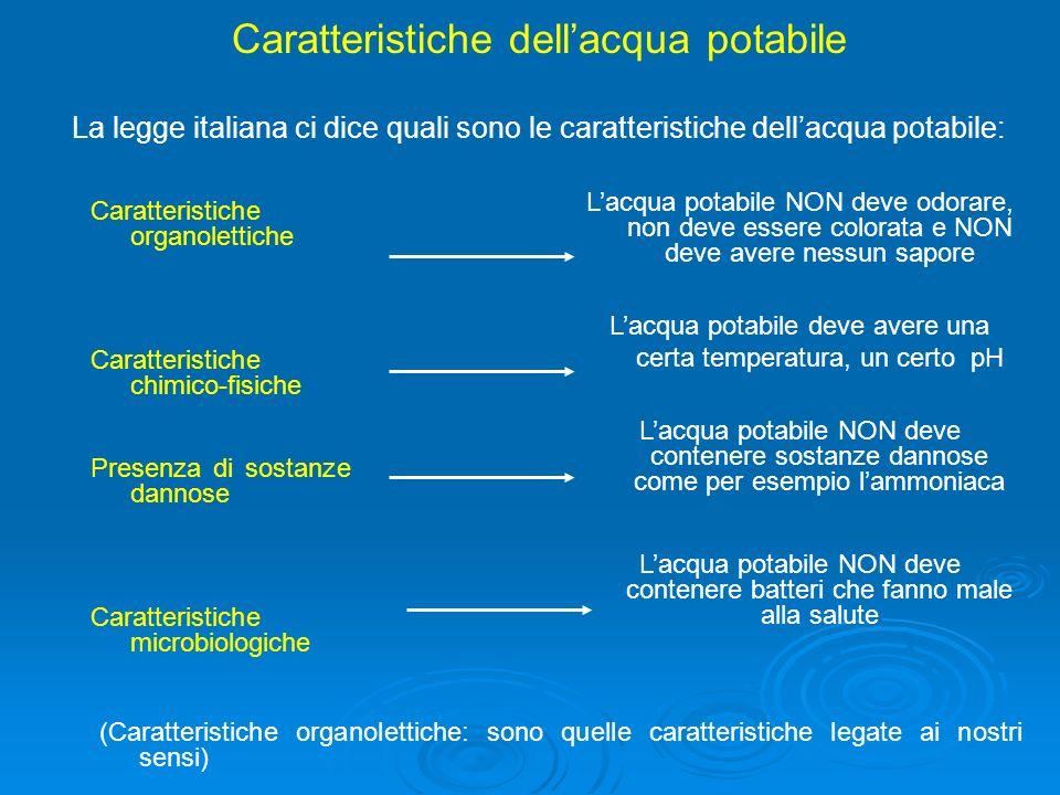 Caratteristiche dell'acqua potabile