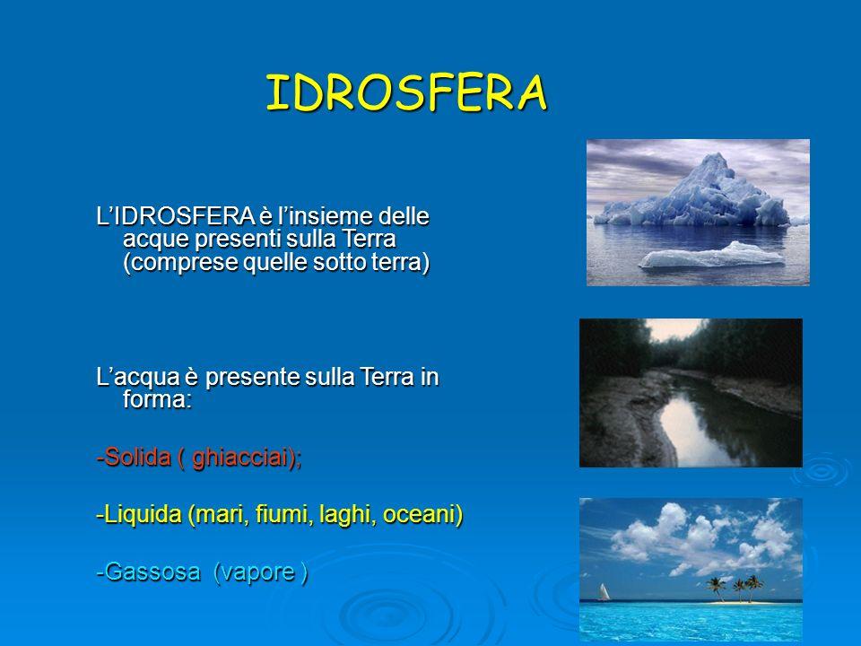 IDROSFERAL'IDROSFERA è l'insieme delle acque presenti sulla Terra (comprese quelle sotto terra) L'acqua è presente sulla Terra in forma: