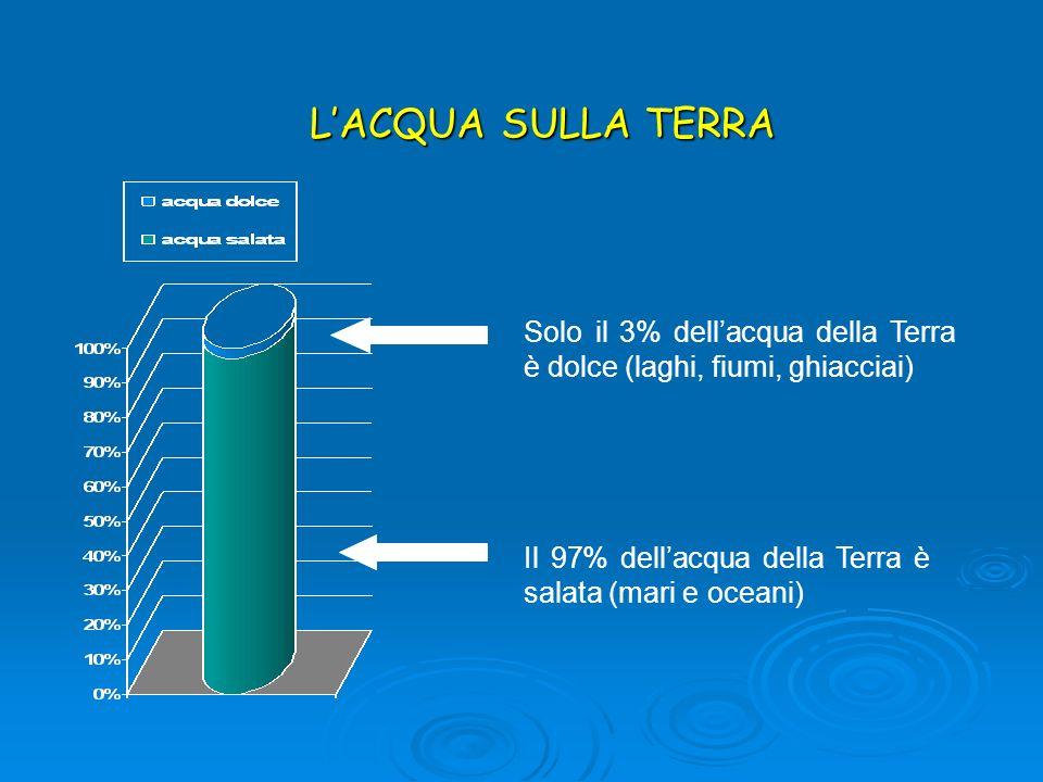 L'ACQUA SULLA TERRASolo il 3% dell'acqua della Terra è dolce (laghi, fiumi, ghiacciai) Il 97% dell'acqua della Terra è salata (mari e oceani)