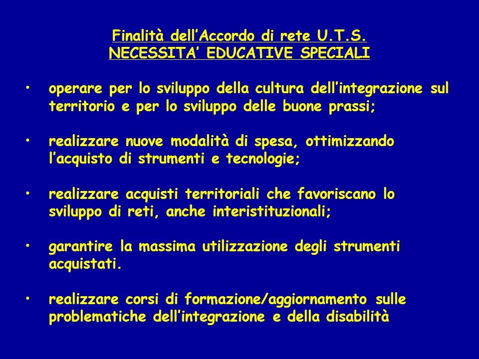 Finalità dell'Accordo di rete U.T.S. NECESSITA' EDUCATIVE SPECIALI